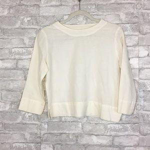 Linen Long Sleeve Crop Top